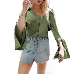 Bohelly 2019 New Women's Cute V Neck 3/4 Bell Sleeve Pleated