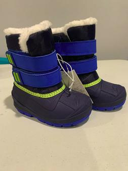 Cat & Jack Toddler Boys Size 7 Blue Winter Snow Boots Therma