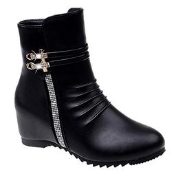 COPPEN Christmas Women Boot Leather Round Toe Wedges Zipper