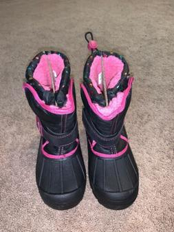 GIRLS ATHLETECH BLACK AND PINK SNOW BOOTS SIZE 1 NWB