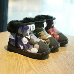 Girls Boys Snow Ankle Boots Winter Warm Kids Toddlers Camouf
