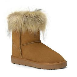 Kids Girls Fur Lined Winter Ankle Snow Boots Warm Boots