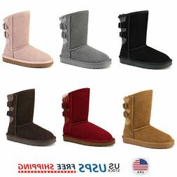 Kids Girls Winter Snow Boots Ankle Fur Lined Warm Outdoor Sn