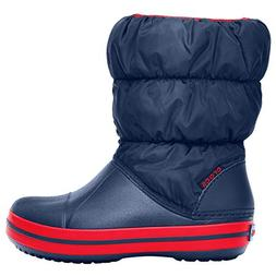 crocs Kids' Winter Puff Boot ,Navy/Red,3 M US Little Kid
