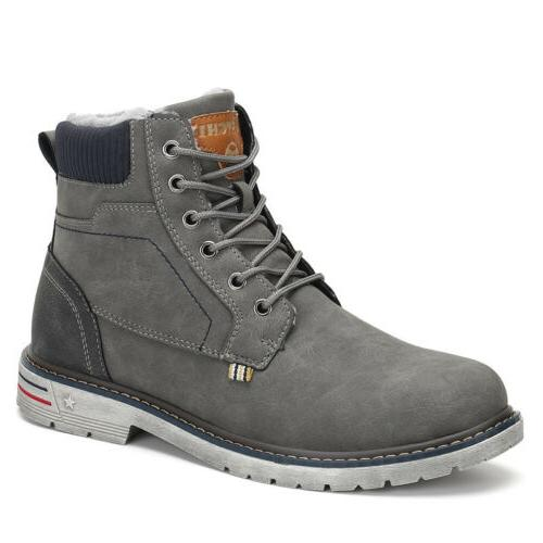 Men Snow Boots Anti-skid Fur-Lined Lace Up Shoes F56