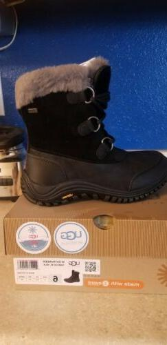 NEW UGG W OSTRANDER Black Waterproof Leather Snow Boots Size