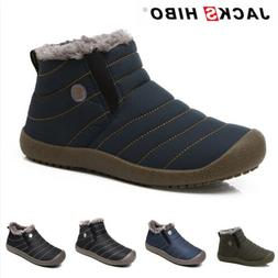 JACKSHIBO Mens Winter Snow Ankle Boots Slippers Casual Warm