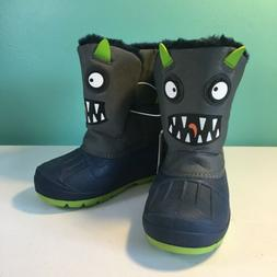 New Cat & Jack Huxley Monster Winter Snow Boots Green Toddle