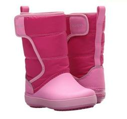 New Crocs Girls LodgePoint Snow Boots Toddler Size 6c Pink N