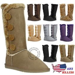 New Women's Four Button Faux Fur Lined Shearing Mid Calf Win