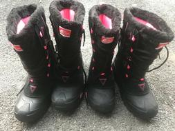 NWT NorthFace snow boots girls black and pink size 5