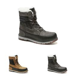 Plus Size Mens Fur Lined Winter Boots Cargo Color Matching A