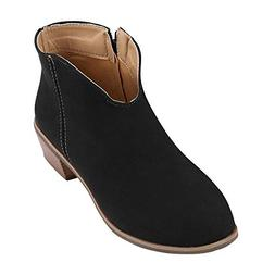 ASERTYL Retro Ankle Boots Women Square Heel Solid Color Sued