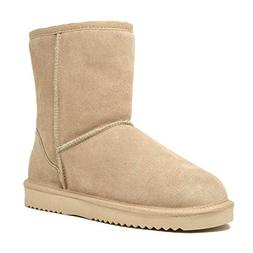 DREAM PAIRS Women's Shorty-New Sand Mid Calf Winter Snow Boo
