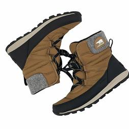 Sorel Whitney Short Lace Puffer Baffled Snow Boots Ekl Brown