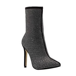 Peize Women Classic Water Drill Solid High Heels Boots Ladie