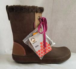 Crocs Womens Boots Brown Rubber Faux Fur Lining Lace Up Wint