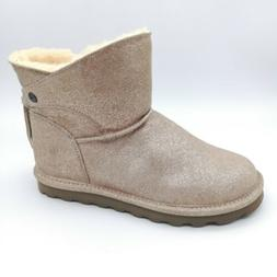 Bearpaw Womens Suede Ankle Snow Boots Gold Glitter Fur Lined