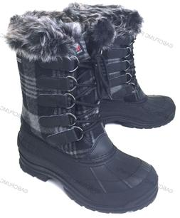 Womens Winter Boots Flannel Plaid Insulated Fur Waterproof H